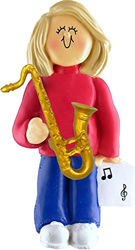 Music Treasures Co. Female Musician Sax Ornament – Blonde