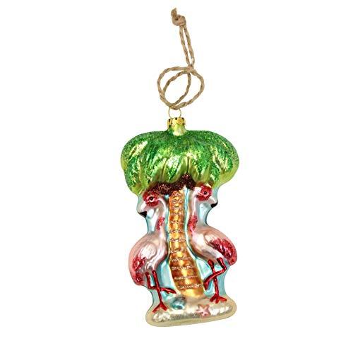 Beachcombers Mercury Glass Palm/Flamingos Ornaments