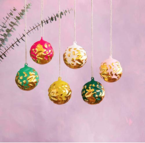One Hundred 80 Degrees Wavy Gold Leaf Ball Ornament Set of 6
