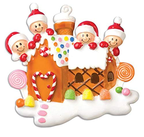 Polar X Gingerbread House with 4 Personalized Christmas Ornament (Family Series)