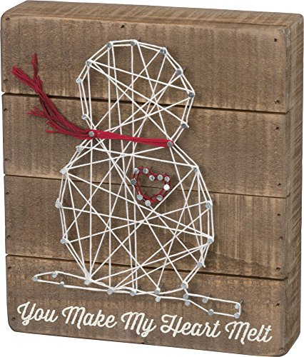 Primitives by Kathy Christmas String Art Box Sign, Heart Snowman