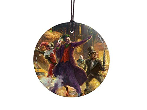 Trend Setters Thomas Kinkade – Villains of Gotham – Joker – Harley Quinn – Mr. Freeze – Penguin – DC Comics – Starfire Prints Hanging Glass – Ideal Decoration for Gifting and Collecting