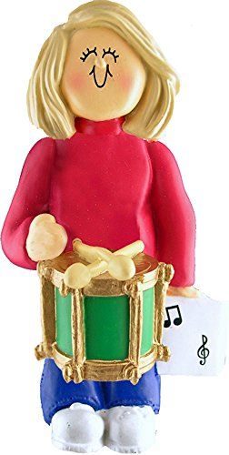 Music Treasures Co. Female Musician Drum Ornament – Blonde