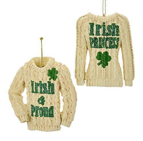 Kurt Adler 3-inch Resin Irish Knit Sweater Ornaments, Set of 2
