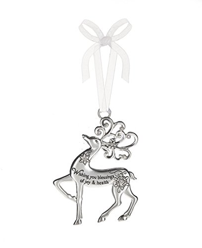 Wishing you blessings of joy & health – Silver Reindeer Zinc Epoxy Glass Christmas Ornament