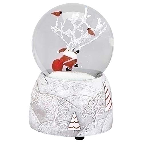 Santa Snow Covered Cardinals 5 Inch Resin Musical Snowglobe Plays Jolly Old St. Nick