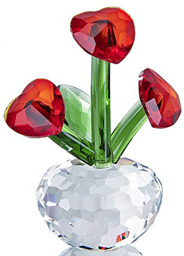 Qf Crystal Forever Flower with Heart-Shaped Red Crystal Petals Collectibles Figurine Crystal Ornaments