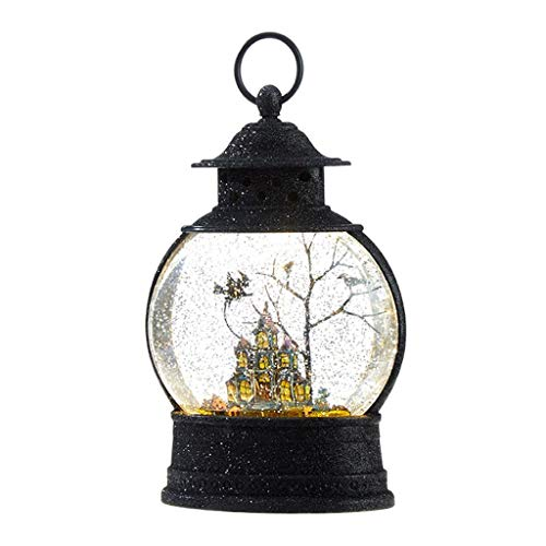 RAZ Imports 10 Inch Haunted Mansion Witch Lighted Water Lantern Halloween Water Globe