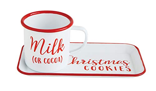 Creative Co-op XM2718 Red & White Christmas Cookies Enameled Milk (or Cocoa) Mug Tray Red