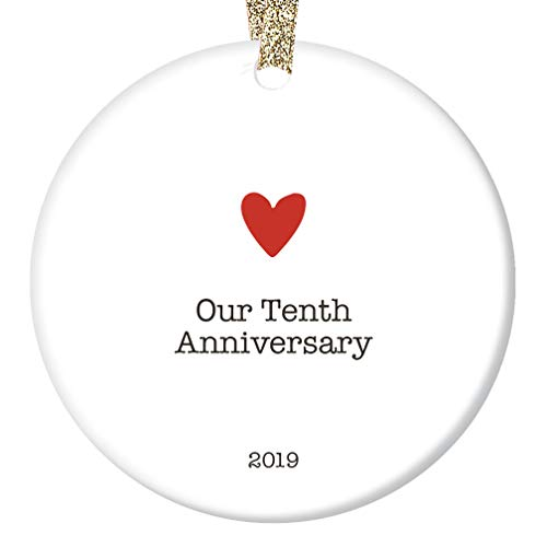 Tenth Anniversary 2019 Ornament Christmas Keepsake Ten 10 Year Married Gift Wife Husband Couple 10th Xmas Present Decade Together Fiance Minimal Heart Decoration Ceramic 3″ Flat Circle Gold Ribbon