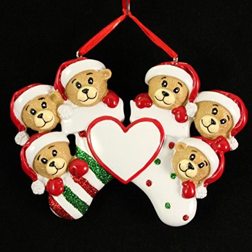 Personalized Bear Family 6 members Christmas Holiday Gift Expertly Handwritten Ornament