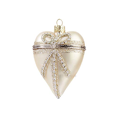 Raz Sparkle Goldtone Jeweled Accents Heart Box 3.5 inch Glass Decorative Christmas Ornament