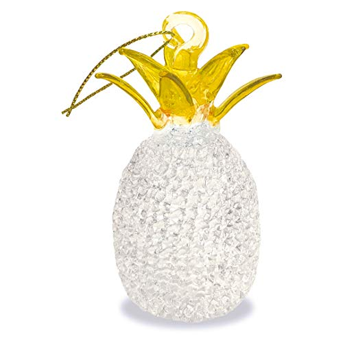 Island Heritage Hawaiian Pineapple Yellow Top Hawaii Christmas Glass Lace Ornament