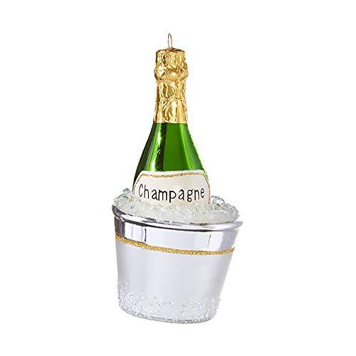 Glitter Silvertone Champagne Bucket 5.5 inch Glass Decorative Ornament