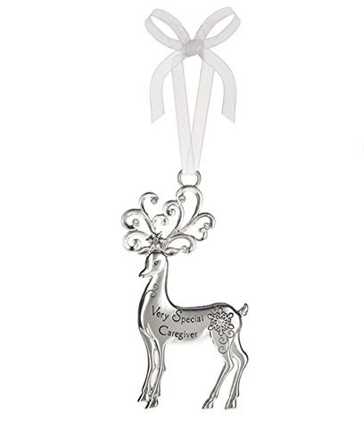 Special Caregiver Silver Reindeer Zinc Epoxy Glass Christmas Ornament