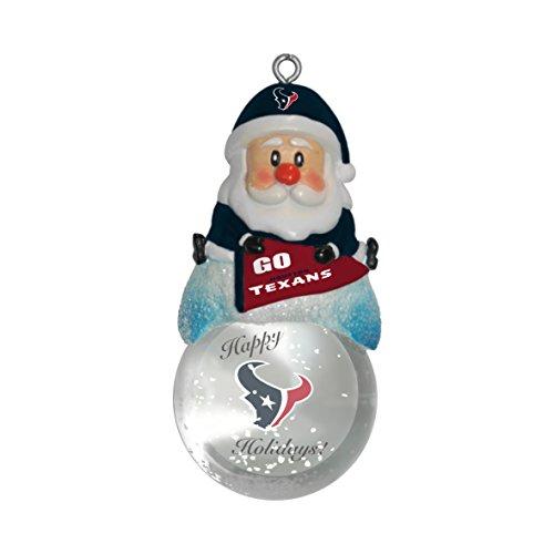 NFL Houston Texans Snow Globe Ornament, Silver, 1.5″