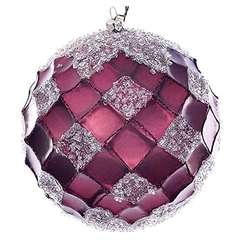 Vickerman 618844-4.75″ Burgundy Net Beaded Ball Christmas Tree Ornament (3 pack) (MC190565D)