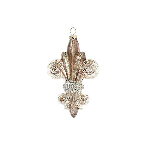 Raz Vintage Goldtone Fleur De Lis 5 inch Glass Decorative Christmas Ornament