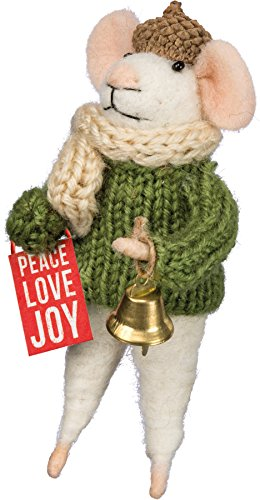 Mouse – Box Sign Peace Love Joy Ornament Shelf Decor 4.75′ Primitives by Kathy