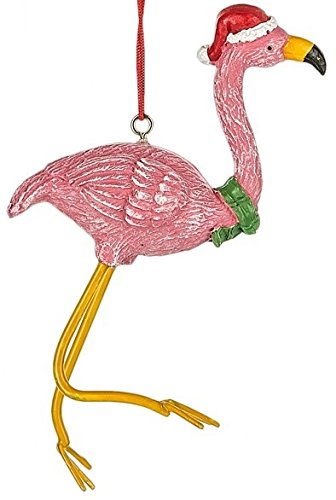 Flamingo with Scarf and Santa Hat Christmas Tree Ornament
