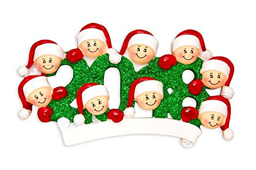 2018 Face Family Of 9 Personalized X-mass Tree Ornament