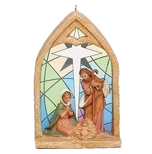 Fontanini 56385 4″ HOLY Family Nativity Ornament with Stained Glass Window Back Drop