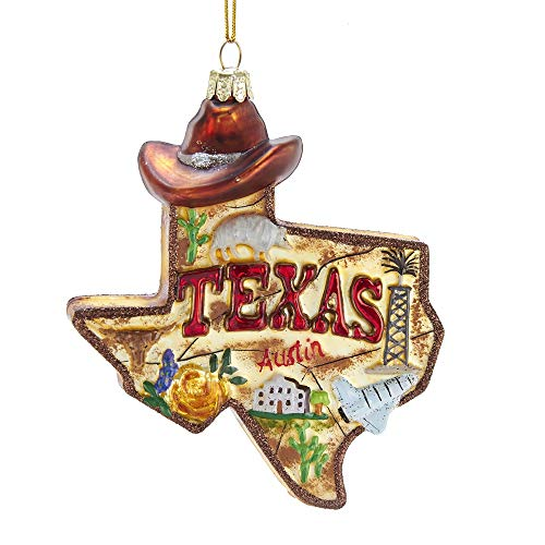 Kurt Adler State of Texas Outline Glass Christmas Ornament C7589 New