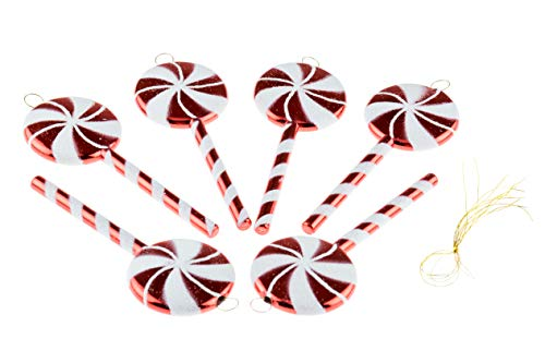 Shatterproof Christmas Tree Lolipop Ornaments by Clever Creations   Red and White Colored Sparkling Glittery Christmas Decor   4 Piece Set Perfect for Christmas Decorations