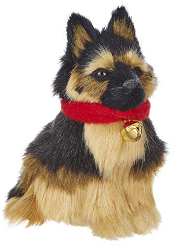 RAZ Imports Dog Figurine/Christmas Ornament – Faux Fur German Shepherd Puppy 5 inch x 4 inch x 2.5 inch