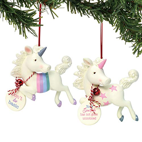 "Department 56 Snowpinions ""Flying Unicorn, 2a"" Bisque Porcelain, 3″ Hanging Ornament, 3″, Multicolor"