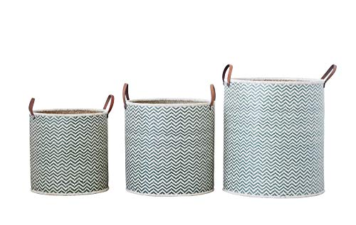 Creative Co-Op Set of 3 Round Green Seagrass Baskets with Leather Handles