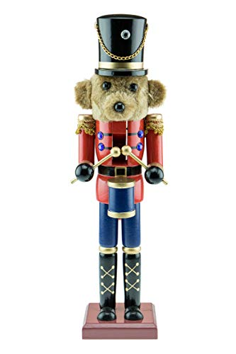 Clever Creations Teddy Bear Drummer Nutcracker – Wearing a Red Jacket and Blue Pants – Traditional Festive Christmas Decor – 15 inch – Perfect Holiday Decoration for Shelves and Tables – Solid Wood