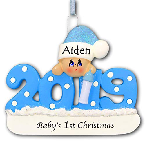 2019 Baby's First Christmas Ornament Gift – Baby Boy Blue with Polka Dots and Glittered Santa Claus Stocking Hat for Baby Boy – Free Name Personalization