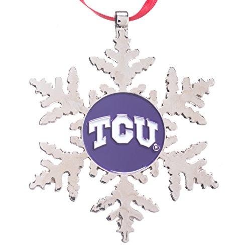 Collegiate Pulse TCU (Texas Christian University) Horned Frogs NCAA Snowflake Christmas Ornament
