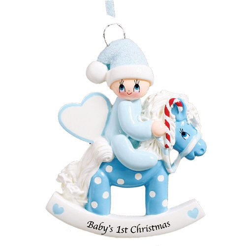 Personalized Baby's 1st Christmas Rocking Pony Tree Ornament 2019 – Boy Glitter Hat Heart Ride Polka Dot Horse Candy-Cane New Mom Shower Grand-Son – Free Customization (Blue)