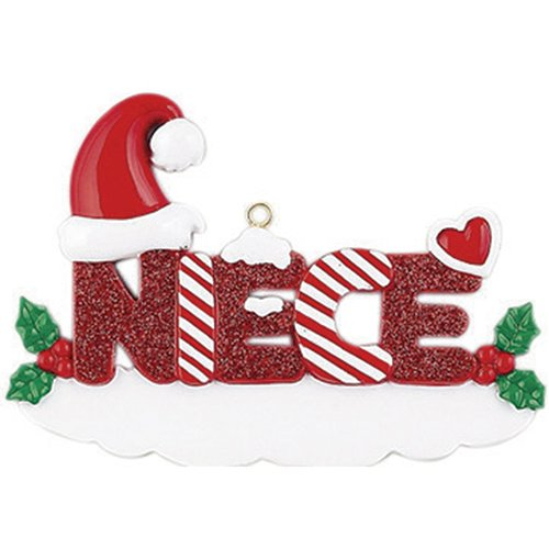 Personalized Niece Christmas Tree Ornament 2019 – Snowy Glitter Red Word Holly Santa Hat Best World's Greatest Friend Love Tradition Special Forever Memory Candy Cane – Free Customization