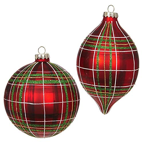 SET OF 2 Raz 4.5″ Red and Green Plaid Glass Christmas Ornament 3824514