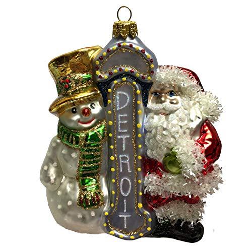 Pinnacle Peak Trading Company Santa and Snowman with Detroit Sign Polish Glass Christmas Ornament Michigan