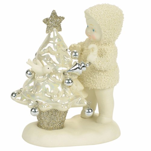 "Department 56 Snowbabies ""Oh Christmas Tree"" Porcelain Figurine, 4.49″"
