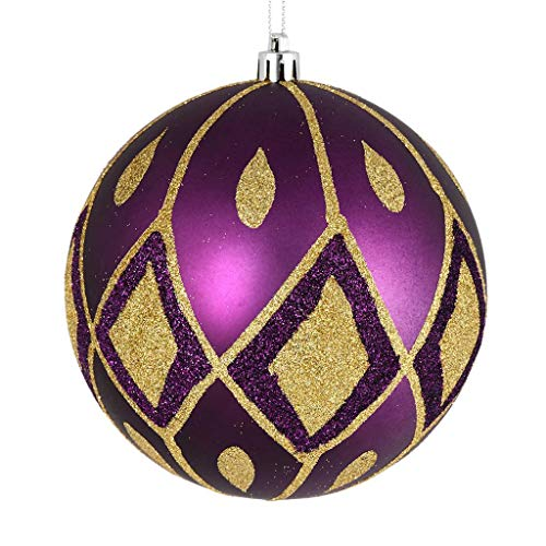 Vickerman 528693-4″ Plum Matte Glitter Diamond Ball Christmas Tree Ornament (4 pack) (N188026D)