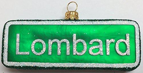 Pinnacle Peak Trading Company Lombard Street Sign San Francisco California Polish Glass Christmas Ornament