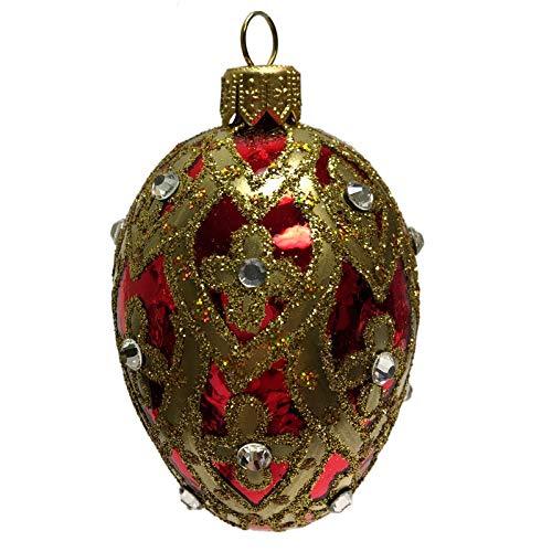 Pinnacle Peak Trading Company Mini Shiny Red and Gold Faberge Inspired Egg Polish Glass Christmas Ornament