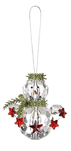 Ganz 4 Pc Set of Kissing Krystals Snowman Christmas Ornaments with Holly and Berries