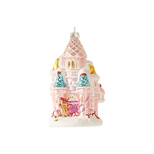 Raz Fairy Sparkle Pink Candy Castle 5 inch Glass Decorative Christmas Ornament