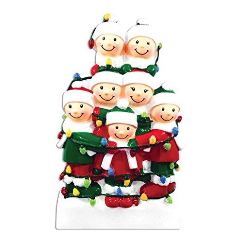 Polar X Tangled in Lights (Family of 7) Christmas Ornament