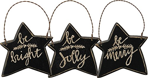 Primitives By Kathy 3.50 Inches x 3.50 Inches Be Merry Wood Star Hanging Ornaments Seasonal Decor