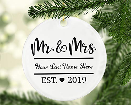 Custom Name Our First Christmas as Mr. & Mrs. 2019 – Newlyweds Personalized Christmas Tree Ornament – Married in 2019 1st Christmas Keepsake Ornament for Husband & Wife – Established 2019