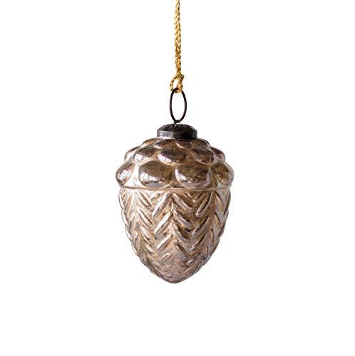 Creative Co-op Gold Glass Acorn Ornament,