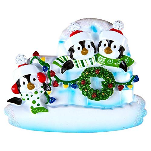 Polar X Penguin Igloo of 3 Personalized Christmas Ornament (Family Series)