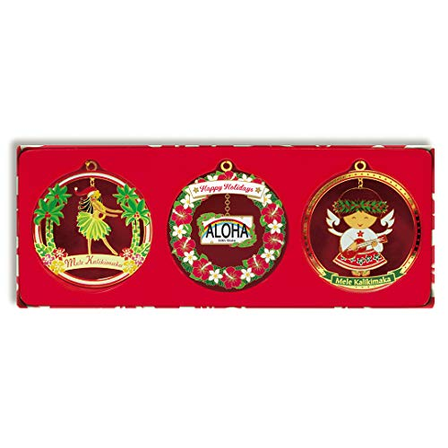 Hawaiian Island Meriment 3-Pack Collectible Metal Christmas Ornaments